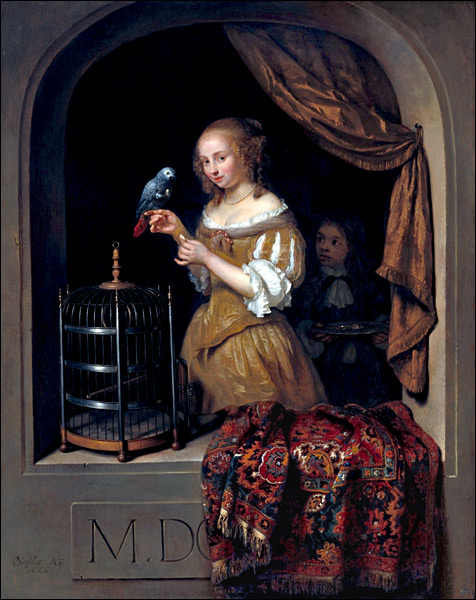 Caspar-Netscher-Woman-Feeding-a-Parrot